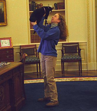 Socks (cat) - Image: Photograph of Chelsea Clinton Playing with Socks the Cat in the Oval Office While President William Jefferson Clinton Works at his Desk 12 24 1994 (6461519327) (cropped 1)