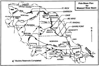 Mapa przedstawiająca główne zapory i zbiorniki wodne w dorzeczu rzeki Missouri