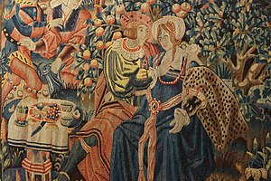 Close up of the hanging tapestry of the parabl...