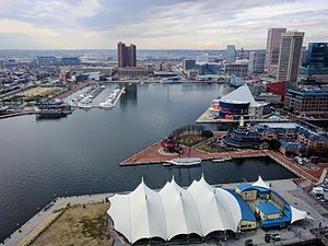 Pier Six Pavilion - Pier Six Pavilion, foreground, with an overview of Inner Harbor