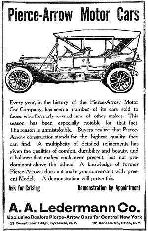 Pierce-Arrow Motor Car Company - A 1911 Pierce-Arrow advertisement, Syracuse Post-Standard, 18 March 1910