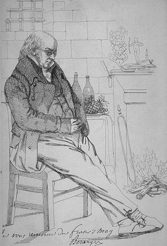Pierre-Jean de Béranger - Pen and ink sketch of Bérenger from Fraser's (magazine), ca. 1833.