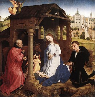 Donor portrait - This 15th-century Nativity by Rogier van der Weyden shows the fashionably dressed donor integrated into the main scene, the central panel of a triptych.