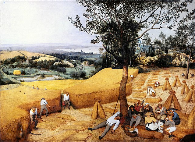 A painting of peasants eating and napping under a tree while others harvest grain