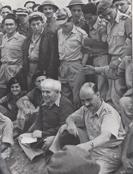 בן גוריון וידין בפגישה עם חיילים