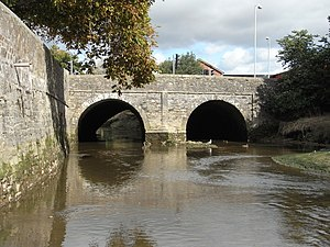 Pilton, Devon - Bridge over River Yeo at northern end of Pilton Causeway linking towns of Barnstaple and Pilton. Built originally by Sir John Stowford