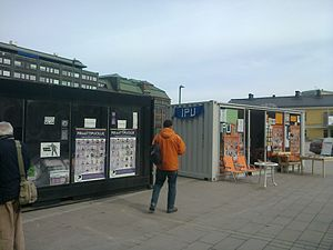 Pirate Party of Finland - Election campaign stations for the Pirate Party and Independence Party on Narinkkatori in Helsinki.