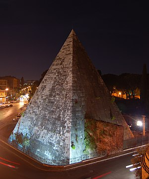 Pyramid of Cestius - Night view from Porta San Paolo