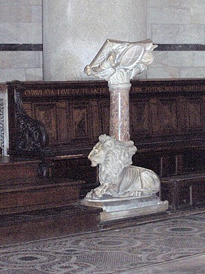 Lectern - Marble lectern in the Pisa Baptistery, Italy