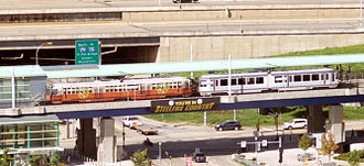 North Shore Connector - Allegheny station, serving the Heinz Field and Carnegie Science Center. Notice the Pittsburgh Steelers banner prominently displayed.