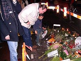 Plaats waar Theo van Gogh vermoord is, net na de moord
