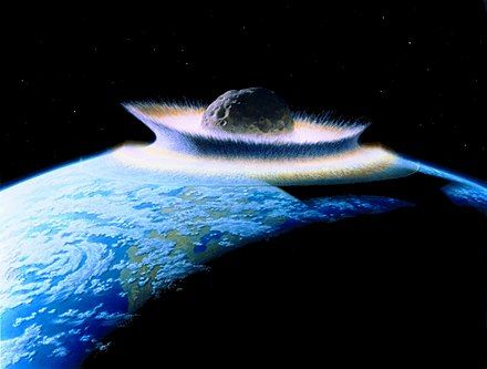 Large Earth NEO collisions are seen as unlikely but possible. Planetoid crashing into primordial Earth.jpg