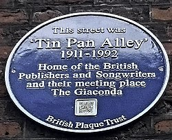 Plaque of tin pan alley, london
