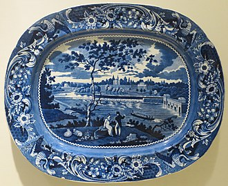 """Transfer printing - A typical platter from the heyday of transferware, 1820-50; an American scene (""""Fair Mount near Philadelphia"""") in English earthenware Staffordshire pottery."""