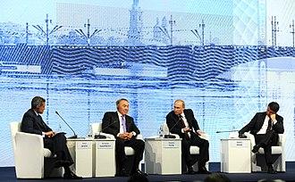 Fareed Zakaria - Fareed Zakaria and Vladimir Putin at St. Petersburg International Economic Forum, 17 June 2016