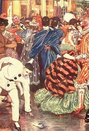 "William Wilson (short story) - Wilson and his ""double"" at the carnival in an illustration by Byam Shaw for a London edition dated 1909"