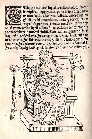 """Cassiopeia (Queen of Ethiopia) - Poseidon's punishment: Cassiopea as a constellation sitting in the heavens tied to a chair. Hyginus, Poeticon Astronomicon. """"U.S. Naval Observatory Library"""""""