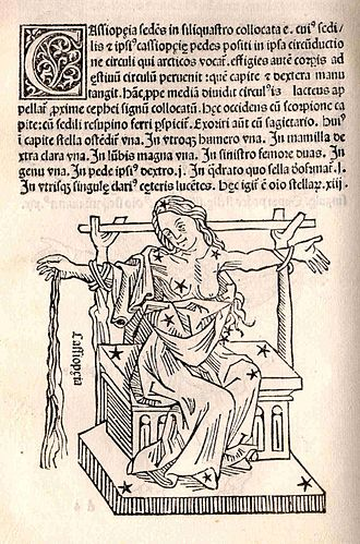 """Cassiopeia of Ethiopia - Poseidon's punishment: Cassiopea as a constellation sitting in the heavens tied to a chair. Hyginus, Poeticon Astronomicon. """"U.S. Naval Observatory Library"""""""