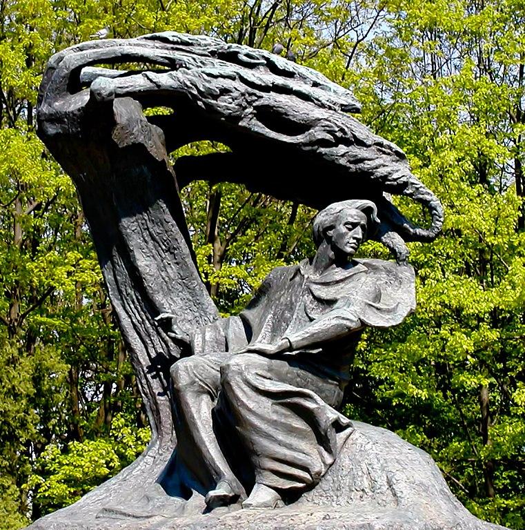 Statue de Frédéric Chopin dans le parc de Lazienki à Varsovie.
