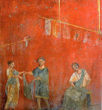 Women's rights - Women working alongside a man at a dye shop (fullonica), on a wall painting from Pompeii