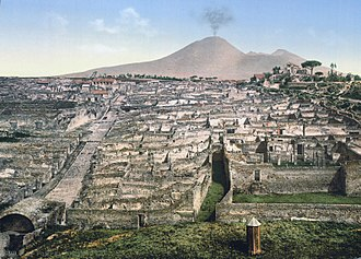 History of archaeology - Pompeii and Mt. Vesuvius in 1900