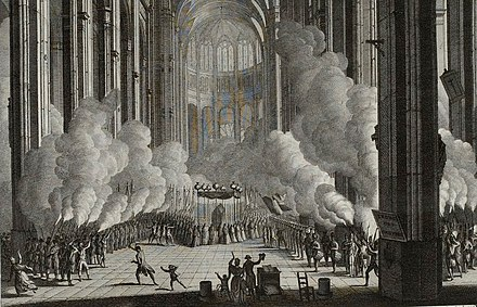 Funeral of Mirabeau in the Church of St Eustache, April 4, 1791, (Musee de la Revolution francaise). Pompes funebres de Mirabeau, Musee de la Revolution francaise.jpg