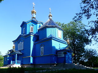 Poromiv Ivanychivskyi Volynska-Church of the Protection of the Theotokos-nord-west view.jpg