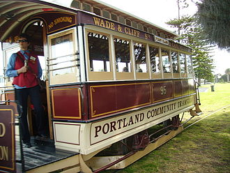 Portland, Victoria - The tram, powered by a small combustion engine, en route from Wade Street to the Henty Park depot.