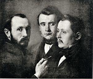 Józef Simmler - Portrait of Józef Simmler (left) and his brothers (c.1850)