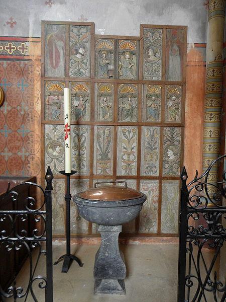 Église Saint-Martin de Préaux (53). Panneaux de stalles.