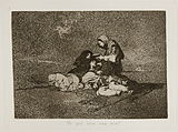Two starving women lie on the ground, one near death as a third woman kneeling by their side offers a cup to the dying woman.