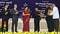 Pranab Mukherjee gave away the Saakshar Bharat awards at the International Literacy Day celebrations, in New Delhi. The Union Minister for Human Resource Development, Smt. Smriti Irani and the Secretary (2).jpg