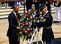 President Barack H. Obama, left, lays a wreath with U.S. Army Sgt. 1st Class Tanner Welch, the sergeant of the guard at the Tomb of the Unknowns assigned to the 3rd U.S. Infantry Regiment (The Old Guard) 130527-A-ND255-086.jpg
