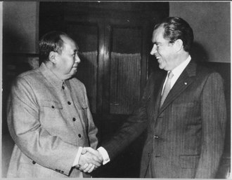 President Richard Nixon went to China to open friendly relations and meet Chinese Communist Party Chairman Mao Zedong in 1972. President Nixon meets with China's Communist Party Leader, Mao Tse- Tung, 02-29-1972 - NARA - 194759.tif