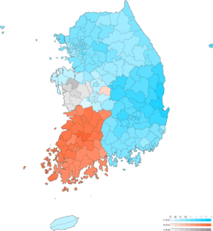 Presidential election of South Korea 2007 result by municipal divisions.png