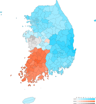 South Korean presidential election, 2007 - Image: Presidential election of South Korea 2007 result by municipal divisions