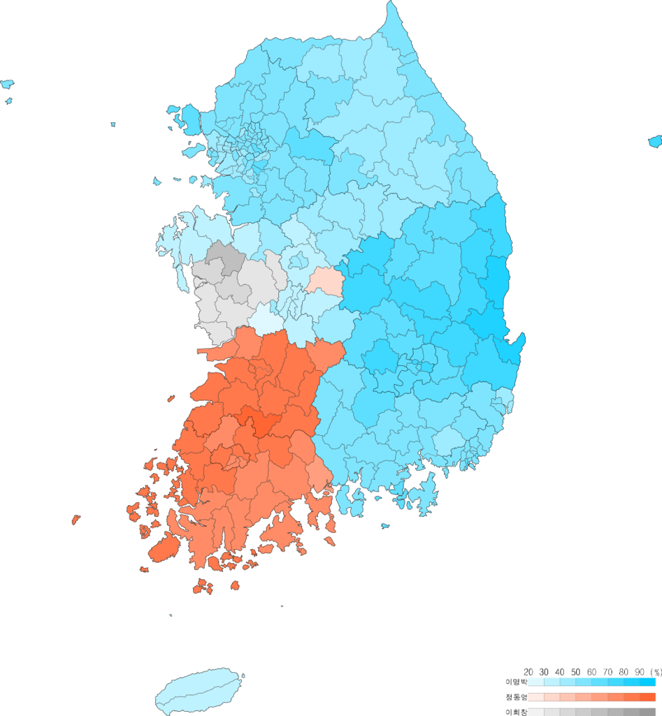 File Presidential Election Of South Korea 2007 Result By Municipal Divisions Png Wikimedia Commons