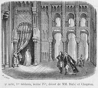 Jules Adenis - Image: Press illustration of Act 4, 1st tableau (scene 4) of 'La fiancée d'Abydos' by Barthe at the Théâtre Lyrique 1865 Gallica