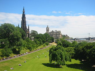 Princes Street Gardens - East Princes Street Gardens, looking north-east from the Mound, showing the Scott Monument (l), Balmoral Hotel (c) and Waverley Station (r) with the North Bridge behind it