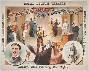 Charles Hawtrey (actor born 1858) - Poster from a performance of Hawtrey's The Private Secretary at the Royal Lyceum Theatre, Edinburgh in 1886