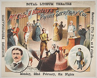 Charles Hawtrey (actor, born 1858) - Poster from a performance of Hawtrey's The Private Secretary at the Royal Lyceum Theatre, Edinburgh in 1886
