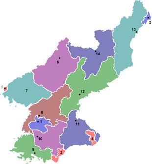 Suddivisioni amministrative di primo grado nella Corea del Nord