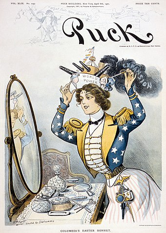 "Columbia, personification of the United States, wearing a warship bearing the words ""World Power"" as her ""Easter bonnet"" on the cover of Puck, 6 April 1901 Puck cover2.jpg"