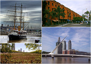 Puerto Madero - Clockwise from top: ARA Uruguay, recycled warehouses made into elegant houses and businesses, the Costanera Sur Ecological Reserve and the Puente de la Mujer.