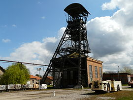 Headframe of the Hély d'Oissel coal mine, registered as an historic monument in 1989