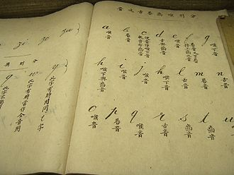 Writing system - This textbook for Puyi shows the English alphabet. Although the English letters run from left to right, the Chinese explanations run from top to bottom then right to left, as traditionally written