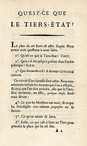What Is the Third Estate? - The first page of Qu'est-ce que le Tiers Etat?
