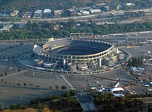 New York Cosmos (1970–85) - The Cosmos won the 1982 Soccer Bowl at San Diego-Jack Murphy Stadium, now known as Qualcomm Stadium, pictured in 2005.