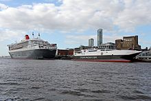 Queen Mary 2 and Manannan, Liverpool landing stage, River Mersey (geograph 4556203).jpg