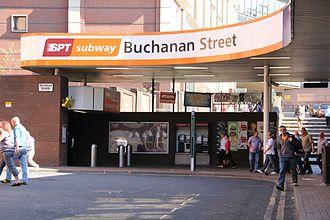 Buchanan Street subway station - Entrance to Buchanan Street subway station at Glasgow Queen Street